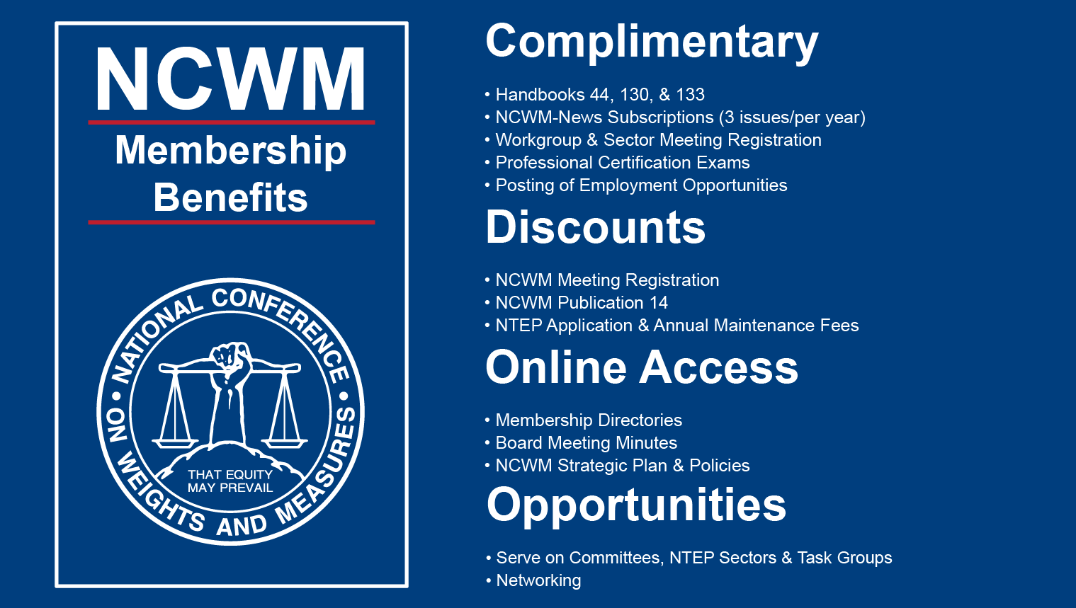 NCWM membership benefits information